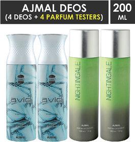 Ajmal 2 Avid For Men And 2 Nightingale For Men & Women High Quality Deodorants Each 200Ml Combo Pack Of 4 (Total 800Ml) 2 Parfum Testers Perfume Body Spray  -  For Men & Women (800 Ml, Pack Of 4)