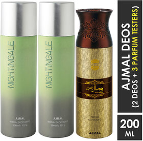 Ajmal 2 Nightingale For Men & Women And 1 Wisal Dhahab For Men High Quality Deodorants Each 200Ml Combo Pack Of 3 (Total 600Ml) 2 Parfum Testers Perfume Body Spray  -  For Men & Women (600 Ml, Pack Of 3)