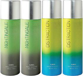 Ajmal 2 Nightingale & 2 Distraction Deodorant Combo Pack Of 4 High Quality Deodorant 200Ml Each (Total 800Ml) For Men & Women + 4 Parfum Testers Deodorant Spray  -  For Men & Women (800 Ml, Pack Of 4)