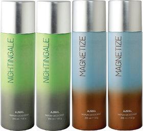 Ajmal 2 Nightingale & 2 Magnetize Deodorant Combo Pack Of 4 High Quality Deodorant 200Ml Each (Total 800Ml) For Men & Women + 4 Parfum Testers Deodorant Spray  -  For Men & Women (800 Ml, Pack Of 4)