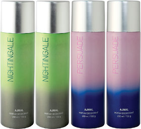 Ajmal 2 Nightingale & 2 Persuade Deodorant Combo Pack Of 4 High Quality Deodorant 200Ml Each (Total 800Ml) For Men & Women + 4 Parfum Testers Deodorant Spray  -  For Men & Women (800 Ml, Pack Of 4)