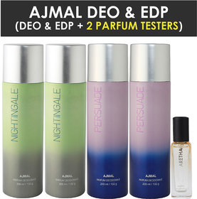 Ajmal 2 Distraction & 2 Persuade Deo Each 200Ml & Aretha Edp 20Ml Pack Of 3 (Total 820Ml) For Men & Women + 2 Parfum Testers