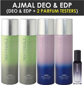 Ajmal 2 Distraction & 2 Persuade Deo Each 200Ml & Ascend  Edp 20Ml Pack Of 3 (Total 820Ml) For Men & Women + 2 Parfum Testers