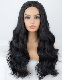 Bedazzled Hairs Natural Look Synthetic Wavy Hair Wigs For Women  Girls(size 22,Black)