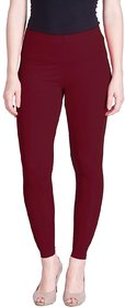 CLOTHINKHUB Maroon Cotton Lycra Solid Legging for Girls