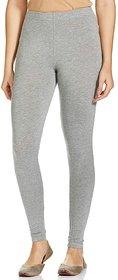 CLOTHINKHUB Grey Cotton Lycra Solid Legging for Girls