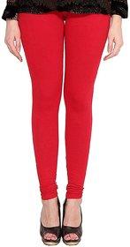 CLOTHINKHUB Red Cotton Lycra Solid Legging for Girls