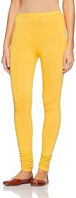 CLOTHINKHUB Yellow Cotton Lycra Solid Legging for Girls