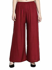 CLOTHINKHUB Maroon Cotton Lycra Solid Palazzo for Girls