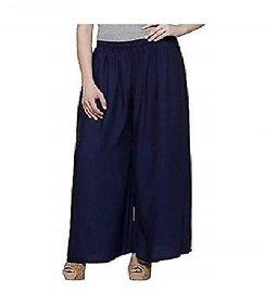 CLOTHINKHUB Navy Cotton Lycra Solid Palazzo for Girls