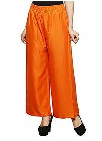 CLOTHINKHUB Orange Cotton Lycra Solid Palazzo for Girls