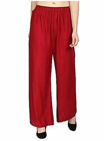 CLOTHINKHUB Red Cotton Lycra Solid Palazzo for Girls