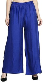 CLOTHINKHUB Royal Blue Cotton Lycra Solid Palazzo for Girls
