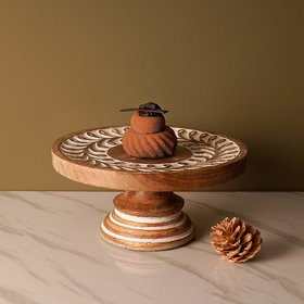 Casa Decor Imperial Carved Cake Stand for Birthday Anniversary Festival Calibration ( D 11.5 X H 5.25 )