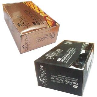 Oxyglow Herbals Charcoal facial kit (60 gm) (1 Pcs)+ Oxyglow Herbals Gold facial kit (60 gm) (1 Pcs)