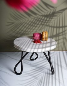 Casa Decor Marble Cake Stand Planter Stool Small Garden Table for Multi Purpose