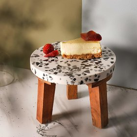 CASADECOR Wooden Legs Planter Stool Cake Stand Small Garden Table for Multi Purpose