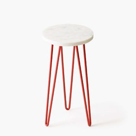 Casa Decor Natural Marble Plant Stand Red Balcony, Living Room and Hallway Space Decor Outdoor (D 8 X H 15)