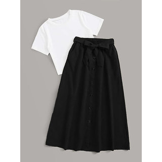 Elizy Women White T-Shirts And Black Skirts Combo