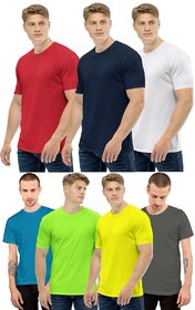 CLOTHINKHUB Round Neck Half Sleeve Solid T-Shirt For Men (Pack Of 7)