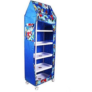 DIVESHTOYSHOP Almirah Stores Box with Collapsible Wardrobe 6 Shaves Furniture Floor Standing For Kids (Multi color)