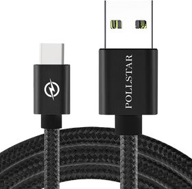 Braided Nylon 3A Type C to Type C Sync  Charging Data Cable (Black, 2.0M)