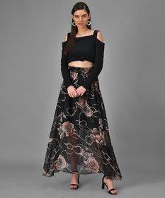 Elizy Women Black Off Shoulder Top Floral Printed Skirts