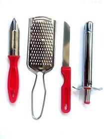 4 in 1 Combo Gas Lighter, Vegetable Knife, Peeler, Grater Stainless Steel Combo ( Assorted Colour )