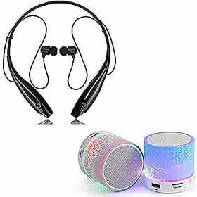Combo Pack of HBS 730 Wireless Neckband Bluetooth Headset with mini bluetooth speaker