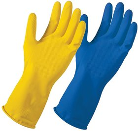 Eastern Club Reusable Rubber Cleaning Gloves Free Size For Washing, Cleaning Kitchen, Gardening Pair Of-10