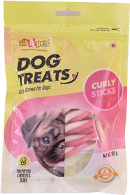 All4pets Curly Stick Strawberry Flavour-100g(For Puppies)