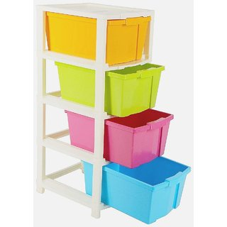 MARKDEYAN Enterprise Plastic Free Standing Chest of 4XL Drawers (Finish Color - Multicolor) Plastic Free Standing Chest