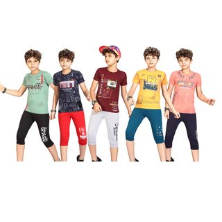 Kavin's 3/4th Pant with Half-Sleeve Tees for Kids, Pack of 5, Unisex, Multicolored - Rayy
