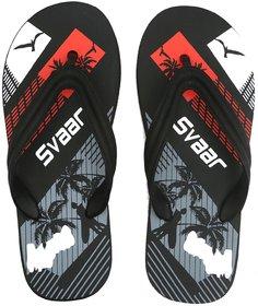 SVAAR Men Black Flip Flops