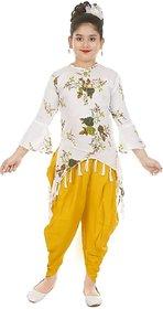 Sbn Girls Festive Wear White Top With Yellow Rayon Dhoti