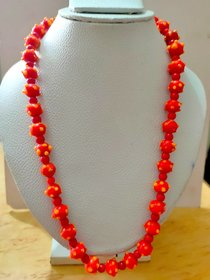 New Handmade Dotted Corona/Bumpy Glass Beads Orange Necklace For Collage Going Girls, Party Casual Wear