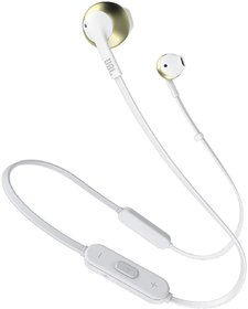 JBL T205BT Bluetooth Headset  (Champagne Gold, In the Ear)