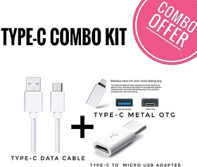 KSJ Combo of Type C Data Cable, OTG and Connector (Assorted Colors)
