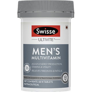 Swisse Ultivite Mens Multivitamin Supplement for Relieving Fatigue  Tiredness and assisting Energy - 60 Tablets