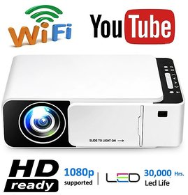 T6 LED Projector 1080p Full HD with Built-in YouTube - Supports Wifi, HDMI,VGA,AV IN,USB, Miracast - Mini Portable