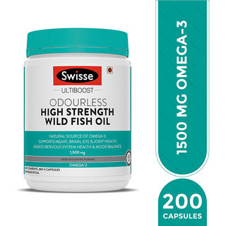 Swisse Ultiboost Odourless High Strength Wild Fish Oil with (1500 mg)  3 for Heart, Brain, Joints and Eyes 200 Tablets