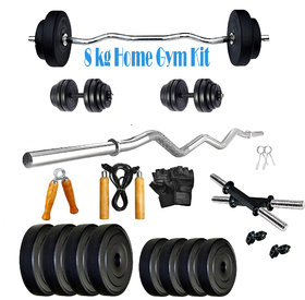Scorpion 8 kg PVC Home Gym Combo  8 Kg Home Gym Exercise Kit  8 KG COMBO HOME GYM - Curl Bar with Gloves