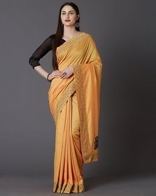 Meia Yellow Vichitra Silk Sarees With Embroidred Hotfix Stone Work Lace