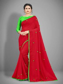 Meia Red New Trendy Vichitra Silk Saree With Pompom work and Blouse