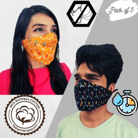 100 Cotton Reversible 2 in 1 face masks for pollution  virus protection, Reusable  Washable Outdoor mask (Pack of 5)