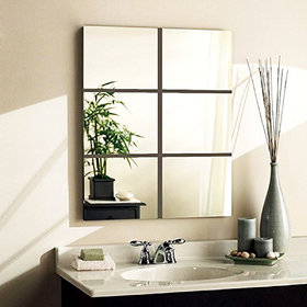 6 Square Silver (Each Piece Size 15 cm) thickness 1.5 mm premium quality 3D Acrylic Mirror wall stickers for home office