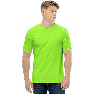 CLOTHINKHUB Neon Green Round Neck Half Sleeve Solid Polyester T-Shirt For Men