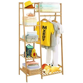 House of Quirk Bamboo Wood Garment Rack Clothing Rack with 5 Tiers Storage Shelf(80cm Width)