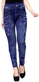 Enaa Fashion Women's Poly Cotton Casual Floral Print Stretchable Jeggings Blue (Free Size 28-34 Waist) - Set of 1