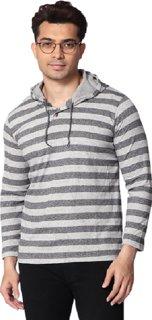 SMART GRABB Dark Grey Cotton Hoodie for Men